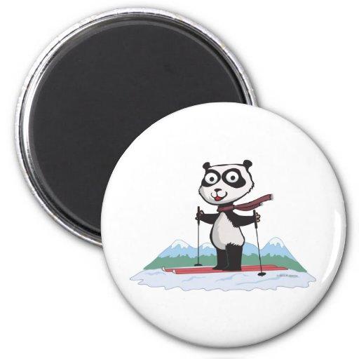 Panda Bear Skiing Fridge Magnets