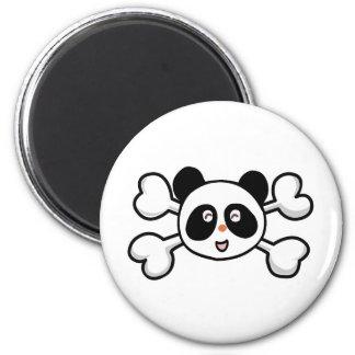 panda bear Skull and Crossbones 2 Inch Round Magnet
