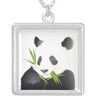 Panda Bear Square Pendant Necklace