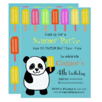 Panda Bear Summer Party with Popsicles Card