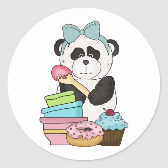 Panda Bear Sweet Treats Classic Round Sticker