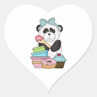 Panda Bear Sweet Treats Heart Sticker
