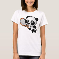 Panda Bear Tennis Player Cartoon T-Shirt