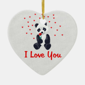 Panda Bear Valentine Ceramic Ornament