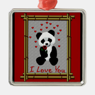 Panda Bear Valentine Metal Ornament