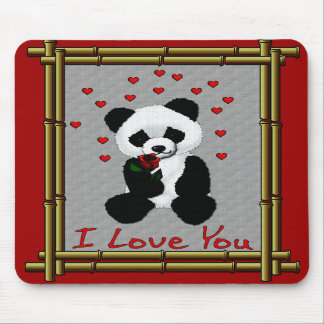 Panda Bear Valentine Mouse Pad