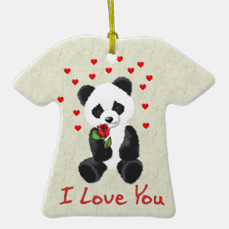 Panda Bear Valentine Double-Sided T-Shirt Ceramic Christmas Ornament