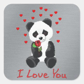 Panda Bear Valentine Square Sticker
