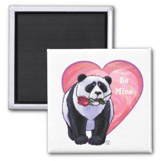 Panda Bear Valentine's Day 2 Inch Square Magnet