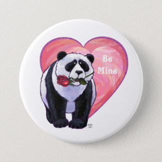 Panda Bear Valentine's Day Button