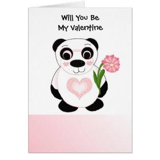 Panda Bear Valentines Day Card