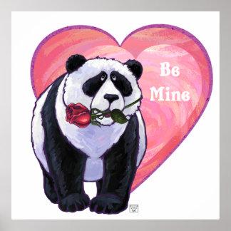 Panda Bear Valentine's Day Poster