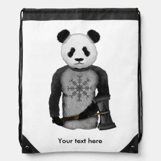 Panda Bear Viking Drawstring Backpack