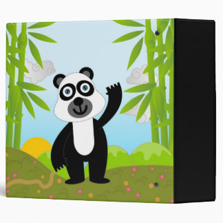 Panda bear waving bye-bye near bamboo trees binder