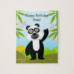 Panda bear wishing Happy Birthday Puzzles