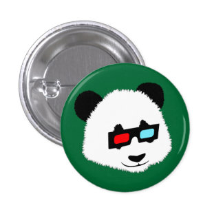 Panda Bear with 3D Glasses 1 Inch Round Button