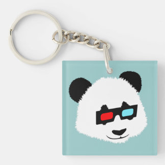 Panda Bear with 3D Glasses Double-Sided Square Acrylic Keychain