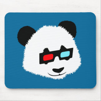 Panda Bear with 3D Glasses Mouse Pad