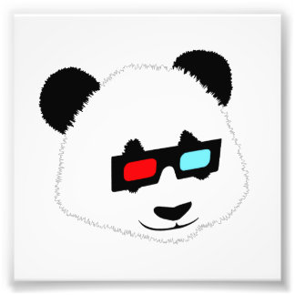 Panda Bear with 3D Glasses Photo Print