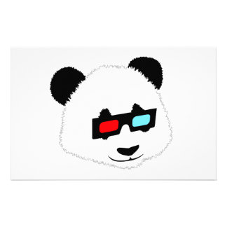Panda Bear with 3D Glasses Stationery Paper