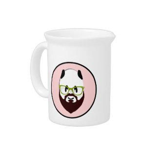 Panda Bear with a Beard Drink Pitcher