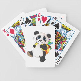 Panda Bear with backpack Bicycle Playing Cards