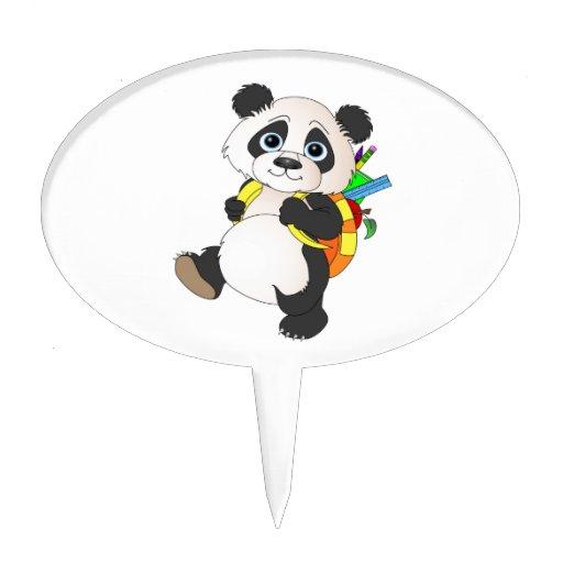 Panda Bear with backpack Cake Pick