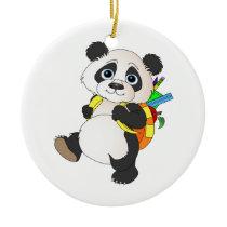 Panda Bear with backpack Ceramic Ornament