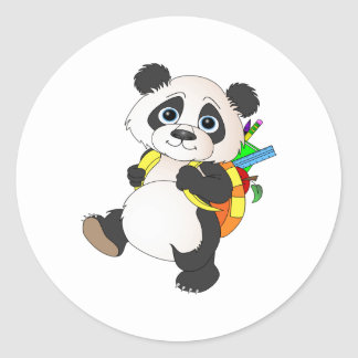 Panda Bear with backpack Classic Round Sticker