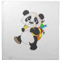 Panda Bear with backpack Cloth Napkin