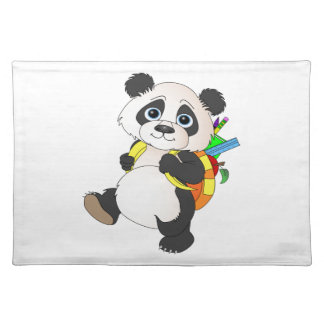 Panda Bear with backpack Cloth Placemat