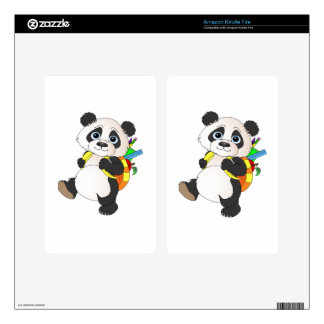 Panda Bear with backpack Decal For Kindle Fire