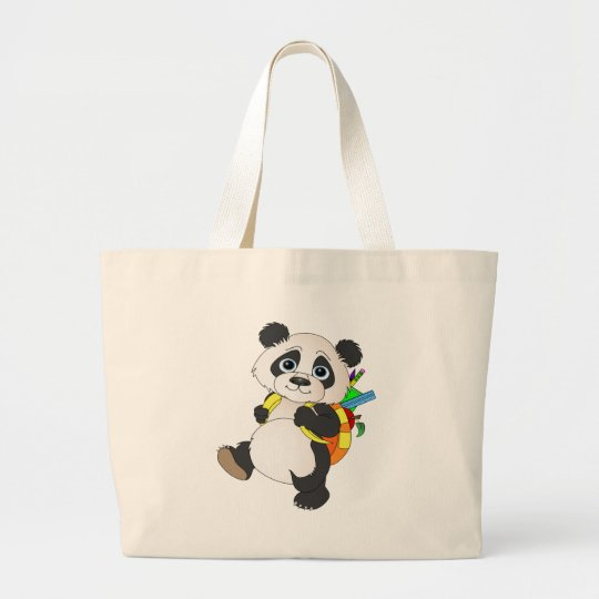 Panda Bear with backpack Large Tote Bag