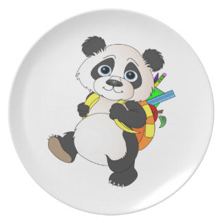 Panda Bear with backpack Melamine Plate