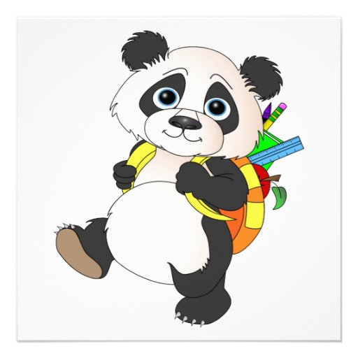 Panda Bear with backpack Personalized Announcement