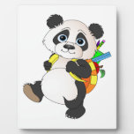 Panda Bear with backpack Photo Plaques