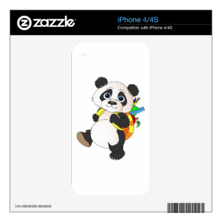 Panda Bear with backpack Skins For iPhone 4S