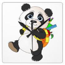 Panda Bear with backpack Square Wall Clock