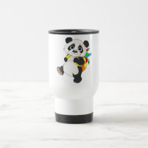 Panda Bear with backpack Travel Mug