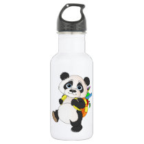Panda Bear with backpack Water Bottle