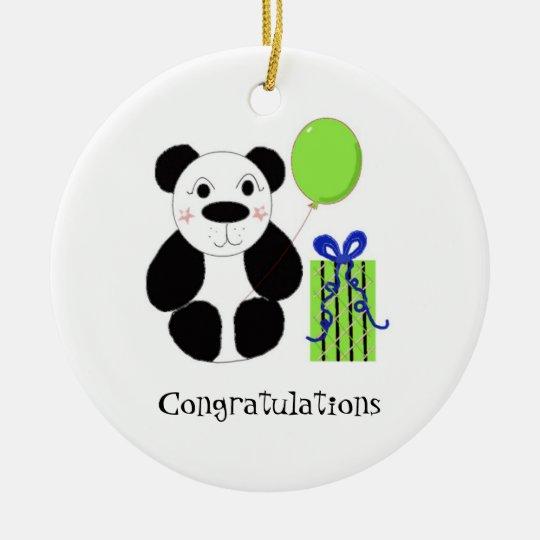 Panda Bear with Balloon Congratulations Ceramic Ornament