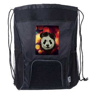 Panda Bear with Bokeh Art Drawstring Backpack