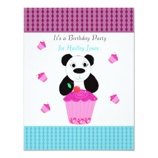 Panda Bear with Cupcakes Birthday Party Invitation