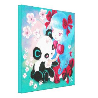 Panda Bear with Kawaii Girl Canvas Print