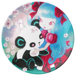 Panda Bear with Kawaii Girl Dinner Plate