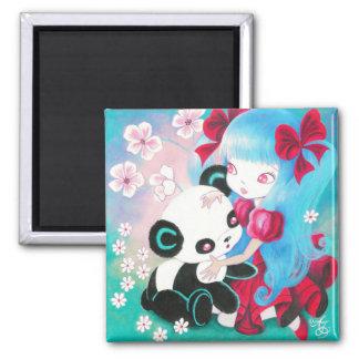 Panda Bear with Kawaii Girl Magnet