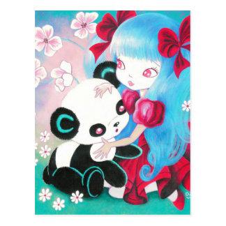 Panda Bear with Kawaii Girl Postcard