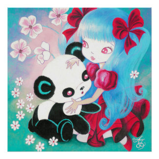 Panda Bear with Kawaii Girl Poster