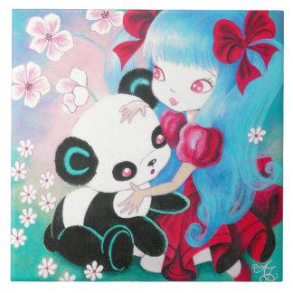 Panda Bear with Kawaii Girl Ceramic Tiles