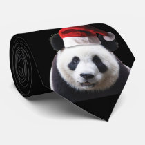Panda Bear with Santa Hat Neck Tie